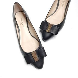 Kate Spade Norah Black Leather Pointy Toe Flats
